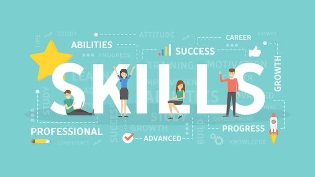 Иллюстрация концепции навыков. идея саморазвития.