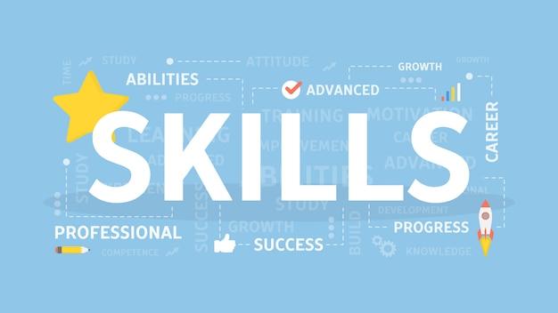 Skills concept illustration. idea of self development.