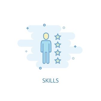 Концепция линии навыков. значок простой линии, цветные рисунки. плоский дизайн символа навыков. может использоваться для ui / ux