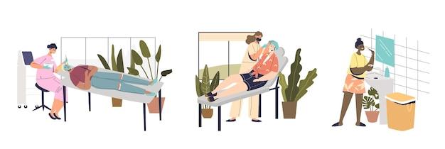 Набор для ухода за кожей и телом с женщиной, которая делает косметологические процедуры дома или в салоне красоты с профессиональными специалистами. концепция лечения по уходу за кожей. плоские векторные иллюстрации шаржа