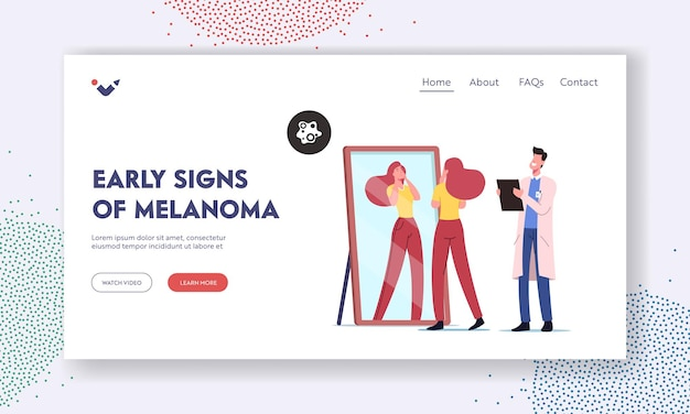 Skin cancer prevention, awareness landing page template. girl search dangerous birthmarks on face, doctor dermatologist oncologist character make notes in clipboard. cartoon people vector illustration