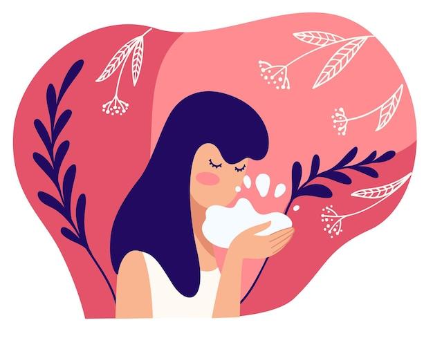 천연 및 유기농 성분의 화장품을 사용하여 여성을 위한 스킨 케어 및 트리트먼트. 비눗물, 거품 또는 기름으로 얼굴을 씻으십시오. 여성의 성격과 위생. 평면 스타일의 벡터