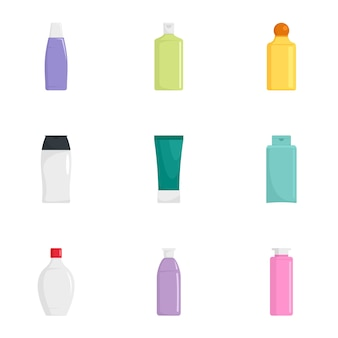 Skin care bottle icon set, flat style