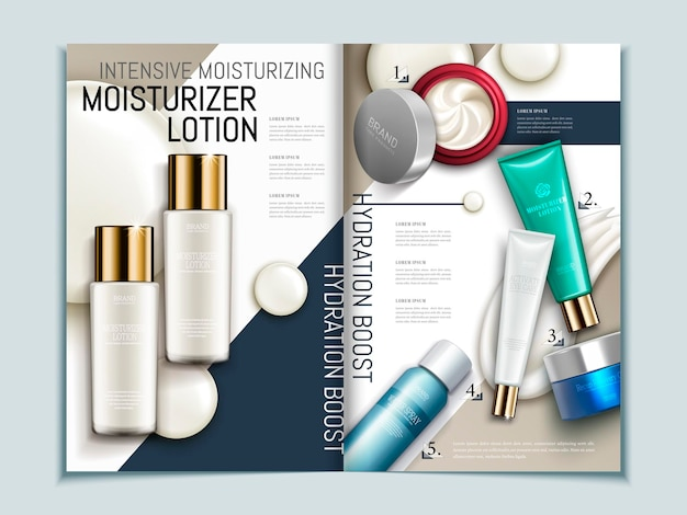 Skin care brochure template, series of cosmetic products on geometric background magazine or catalog in 3d illustration,