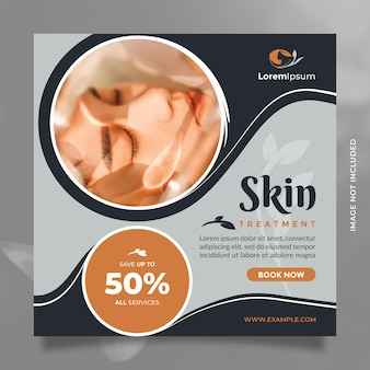 Skin care center and beauty treatment social media post and banner template design for promotion