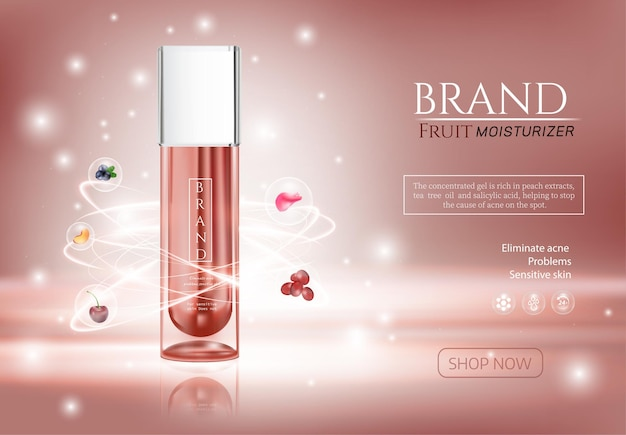 Skin care cosmetic colorstay makeup in glass bottle and tube on the rose gold background with bokeh