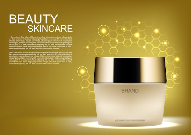 Skin care cream with template on golden hive background