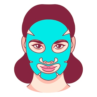 Skin care, fabric facial mask, beauty. vector illustration.