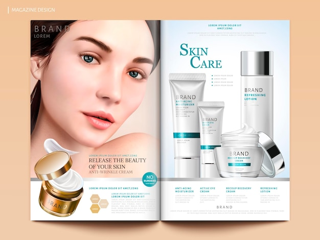 Skin care magazine design, set of cosmetic with charming model portrait in 3d illustration, magazine or catalog brochure template