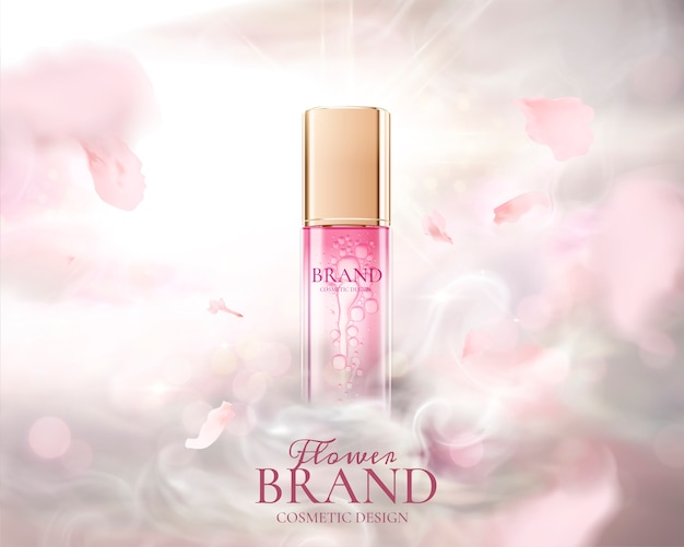 Skin care product ads with flying pink petals and fog effect