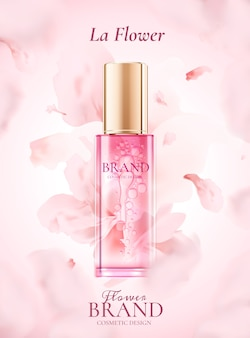 Skin care product ads with flying pink petals