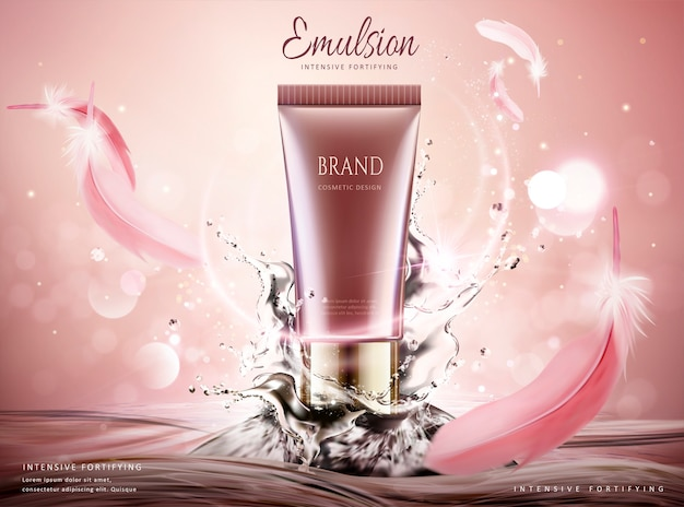 Skin care product ads with swirling water and pink feathers on glittering background,