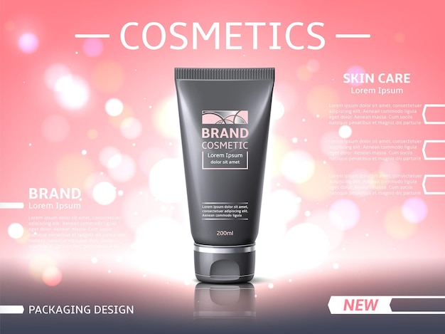 Skin care product poster. beauty skin care products, branded cosmetics promotion banner mockup, pink glitter shiny backdrop for advertising vector concept
