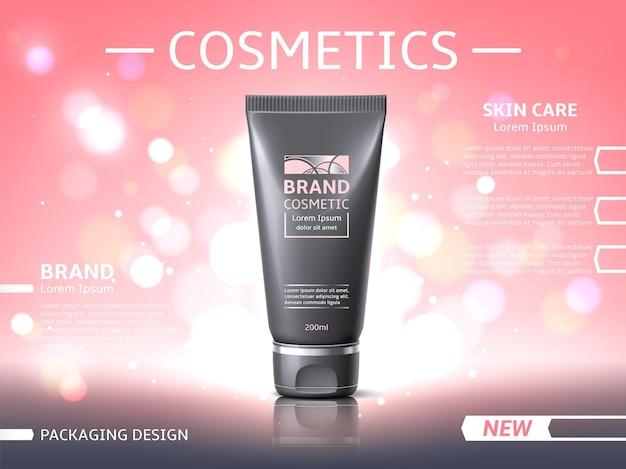 スキンケア製品のポスター。美容スキンケア製品、ブランド化粧品プロモーションバナーモックアップ、広告ベクトルの概念のためのピンクのキラキラ光沢のある背景