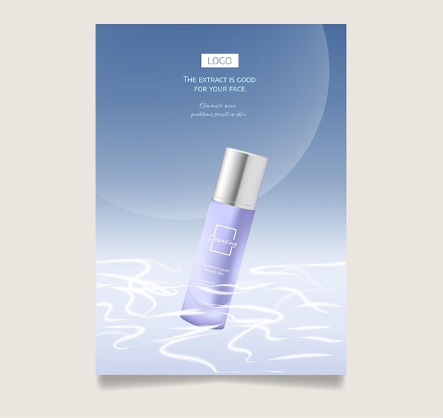 Skin care product set ads with white bottles on blue sea sky and moon shadows in 3d illustration