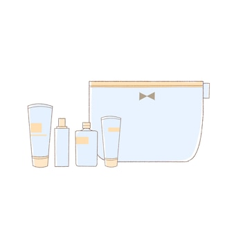 スキンケア製品と化粧ポーチ。キュートでシンプルなアートスタイル。白い背景に。