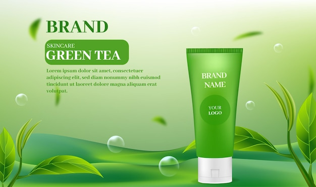 Skin care products on a green tea background