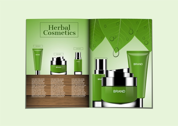 Skin care products for magazine in greenery theme