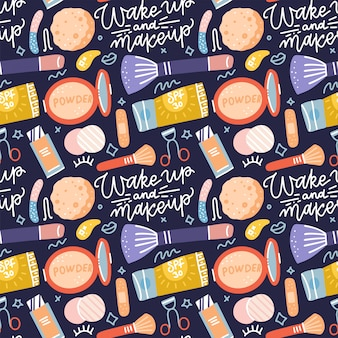 Skin care routine icons seamless pattern with lettering quote. various beauty objects on black background. face care concept. cleansing, moisturizing, treating. hand drawn flat  cartoon style.