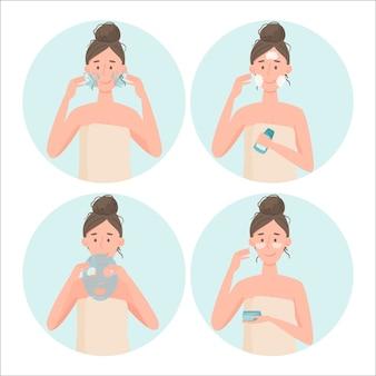 スキンケアルーチン。スキンケアの段階。シャワーの後、女の子は顔の皮膚を洗い、クレンジングし、潤いを与えます。セルフケアの概念。