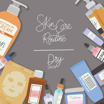 Skin care rutine and dry skin lettering on gray illustration