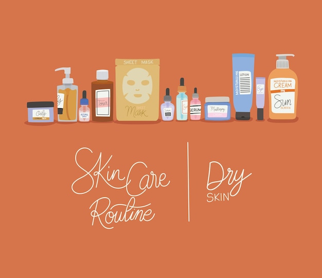 Skin care rutine and dry skin lettering illustration
