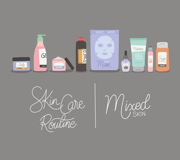 Skin care rutine and mixed skin lettering illustration