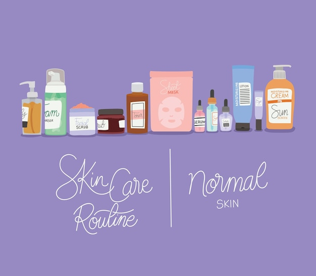 Skin care rutine and normal skin lettering illustration