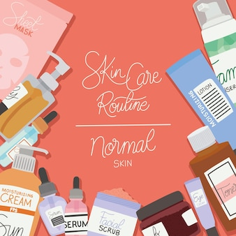 Skin care rutine and normal skin lettering on red illustration