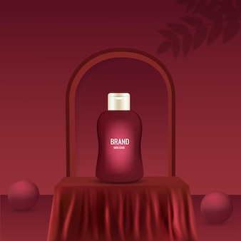 Skin care set advertisement with cream bottle on stage, red square podium silk cloth