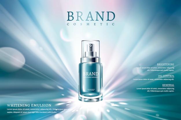 Реклама спрея для ухода за кожей с синим контейнером и мечтательным светящимся фоном