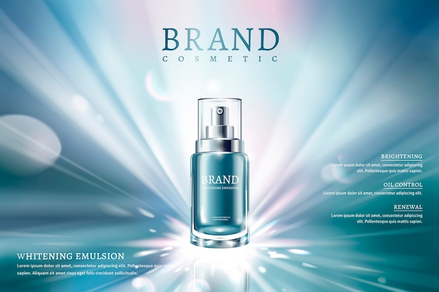 Skin care spray ads with blue container and dreamy glowing background