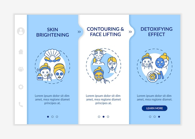 Skin care treatment effects onboarding  template. skin brightening and whitening. face lifting. responsive mobile website with icons. webpage walkthrough step screens.
