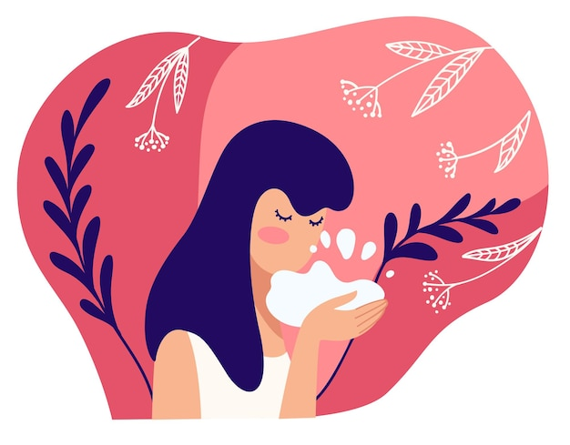 Skin care and treatment for females, using cosmetic products with natural and organic ingredients. washing face with soapy liquid, foam or oil. female character and hygiene. vector in flat style