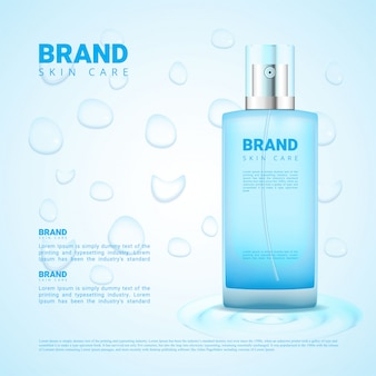 Skin cleansing cosmetics ads drop water background