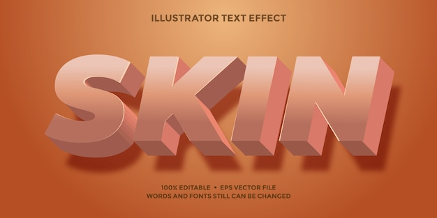 Skin color text effect 3d