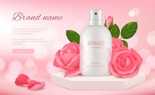 Skin cosmetic. woman cream or perfume bottle with rose pink flowers and petals beauty romantic decoration realistic template, cosmetic cream care banner