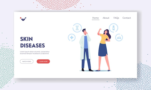 Skin disease landing page template. doctor dermatologist character looking on girl show psoriasis inflammation on elbow, dermatology sickness treatment, health care. cartoon people vector illustration