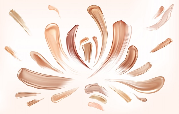 Skin foundation smear brush strokes set.