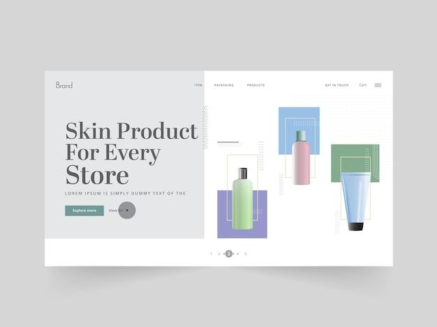 Дизайн целевой страницы продукта кожи или веб-баннера для магазина или магазина.