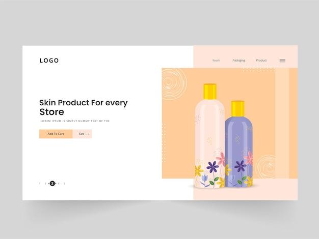 Дизайн целевой страницы продукта кожи или веб-баннера с 3d-бутылками для магазина или магазина.
