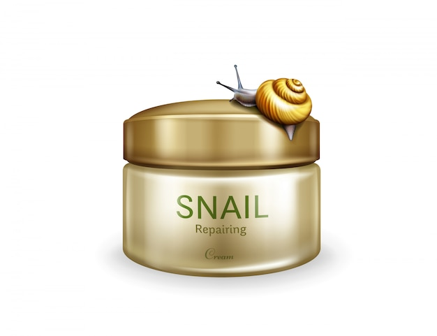 Skin repairing cream realistic vector isolated on white background. live snail creeping on plastic j