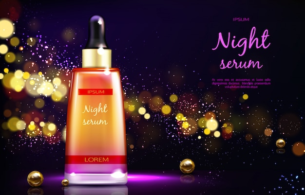 Skin repairing night serum 3d realistic vector advertising banner or poster.