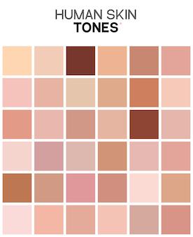 피부톤 색상표입니다. 인간의 피부 질감 색상 infographic 팔레트입니다. 페이셜 케어 디자인.
