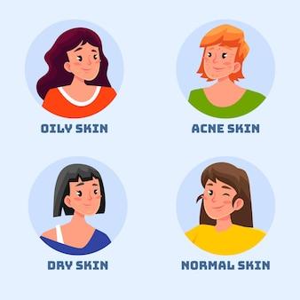 Tipi di pelle e differenze disegnate a mano piatta