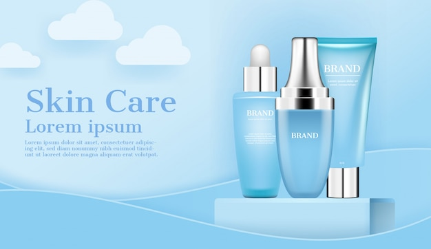 Skincare ad cosmetic set on stand