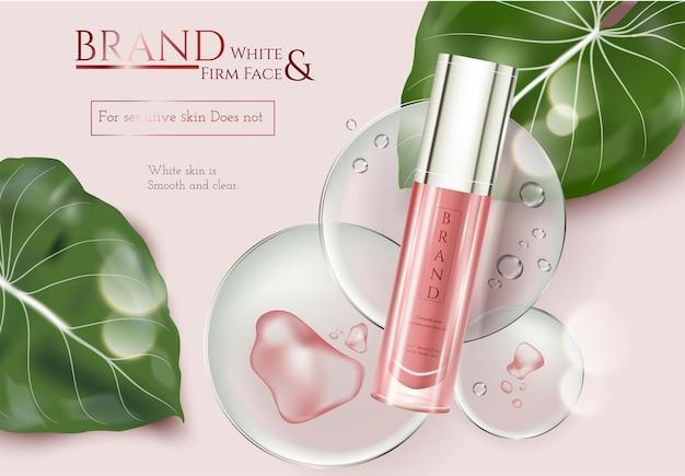 3d 그림에서 분홍색 요소 배경에 열대 잎 장식이 있는 스킨케어 광고