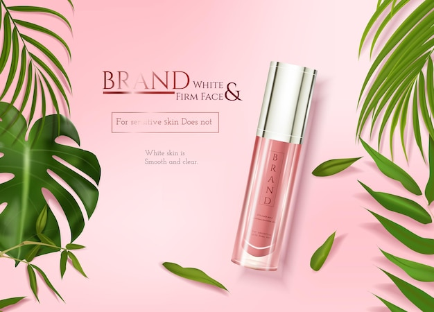 Skincare ads with tropical leaves decoration on pink element background in 3d illustration