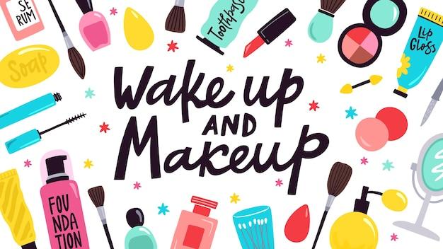 Уход за кожей и макияж иллюстрации