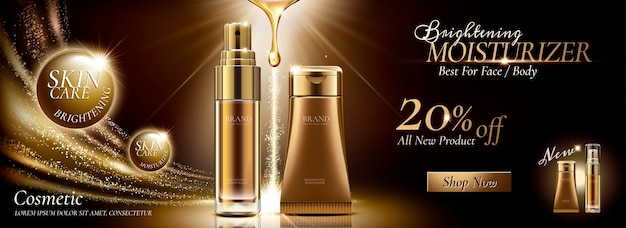 Skincare banner ads in golden color tone and glittering effects